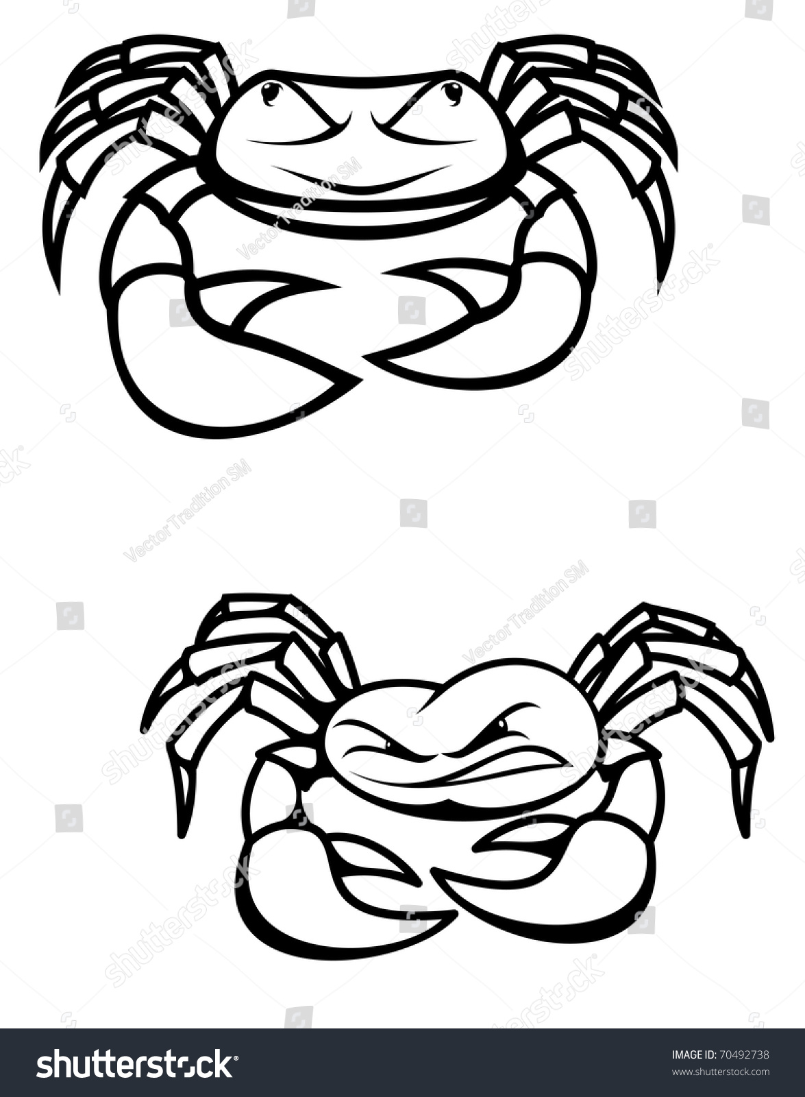 Two Crabs Claws Symbol Seafood Emblem Stock Illustration 70492738
