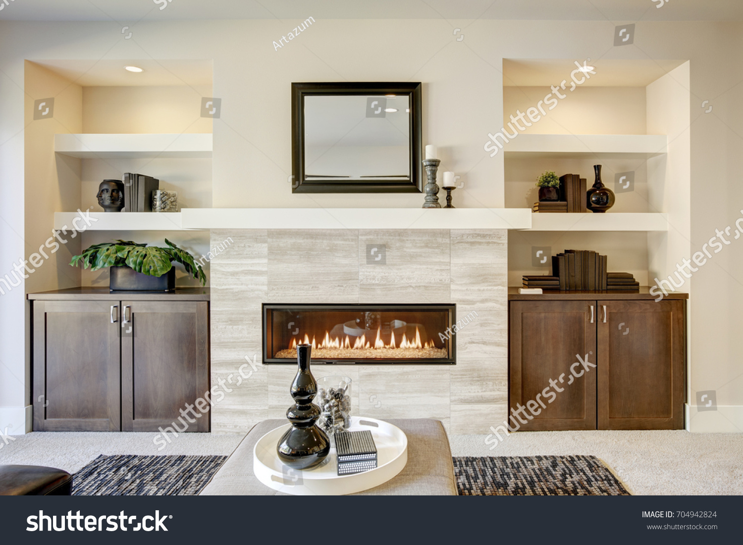 Family Room Design Traditional Fireplace Framed Stock Photo (Royalty ...