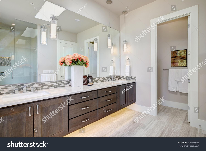 Contemporary Master Bathroom Features Dark Dual Stock Photo (Safe to ...