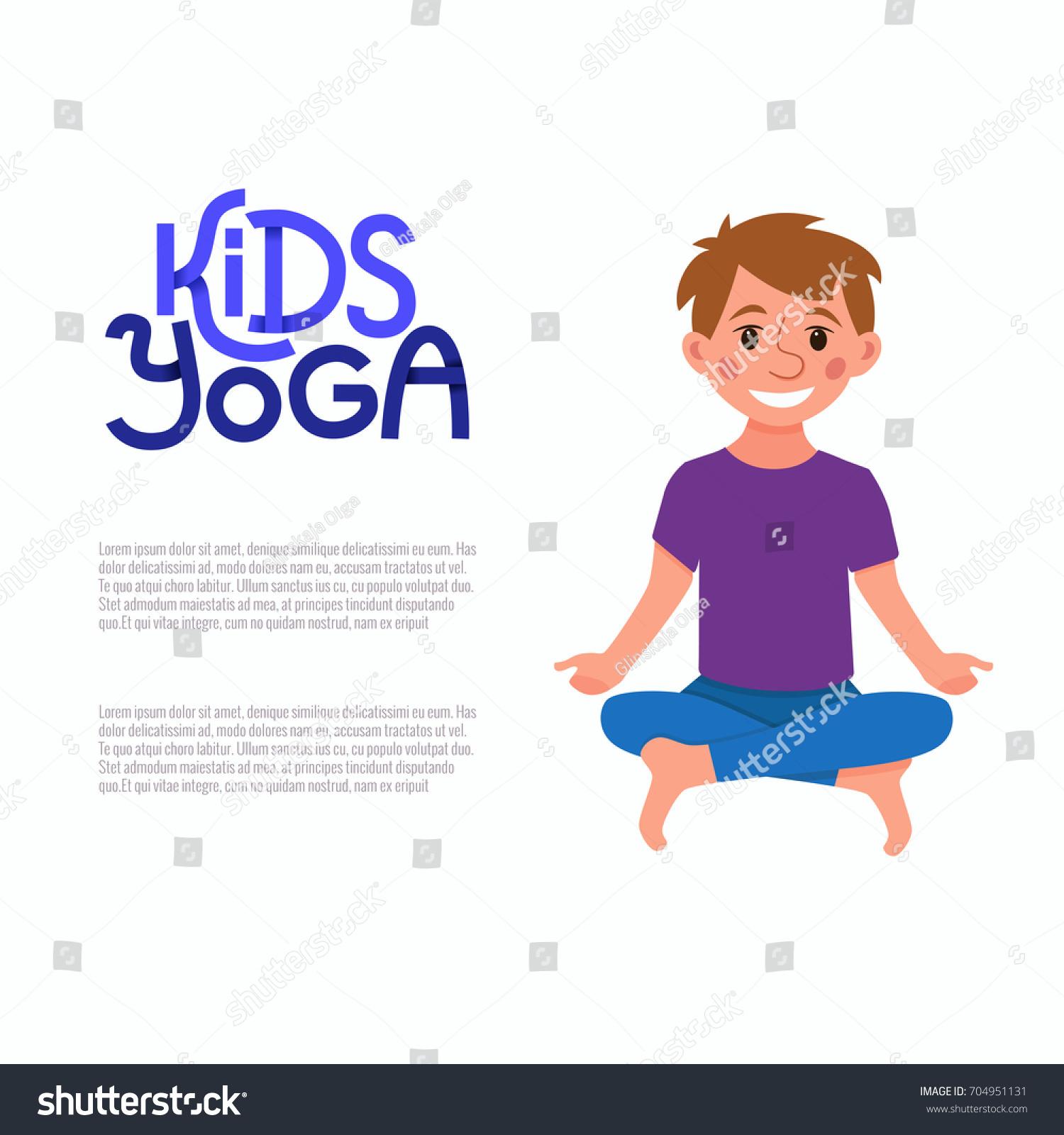 Yoga Kids Pose Cute Cartoon Gymnastics For Children And Healthy Lifestyle Sport Illustration Happy
