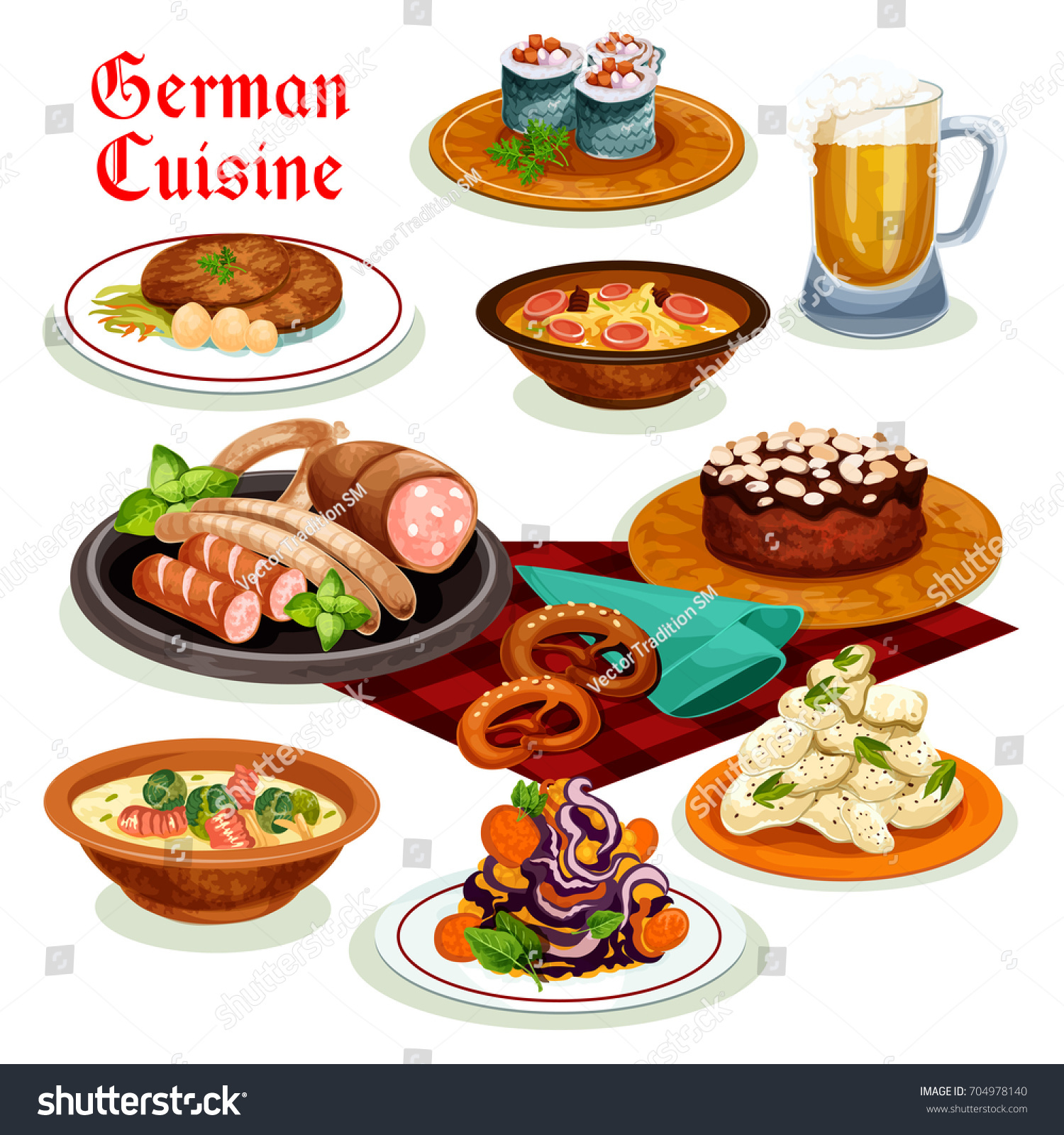 German cuisine traditional beer sausage wurst stock vector for Authentic german cuisine