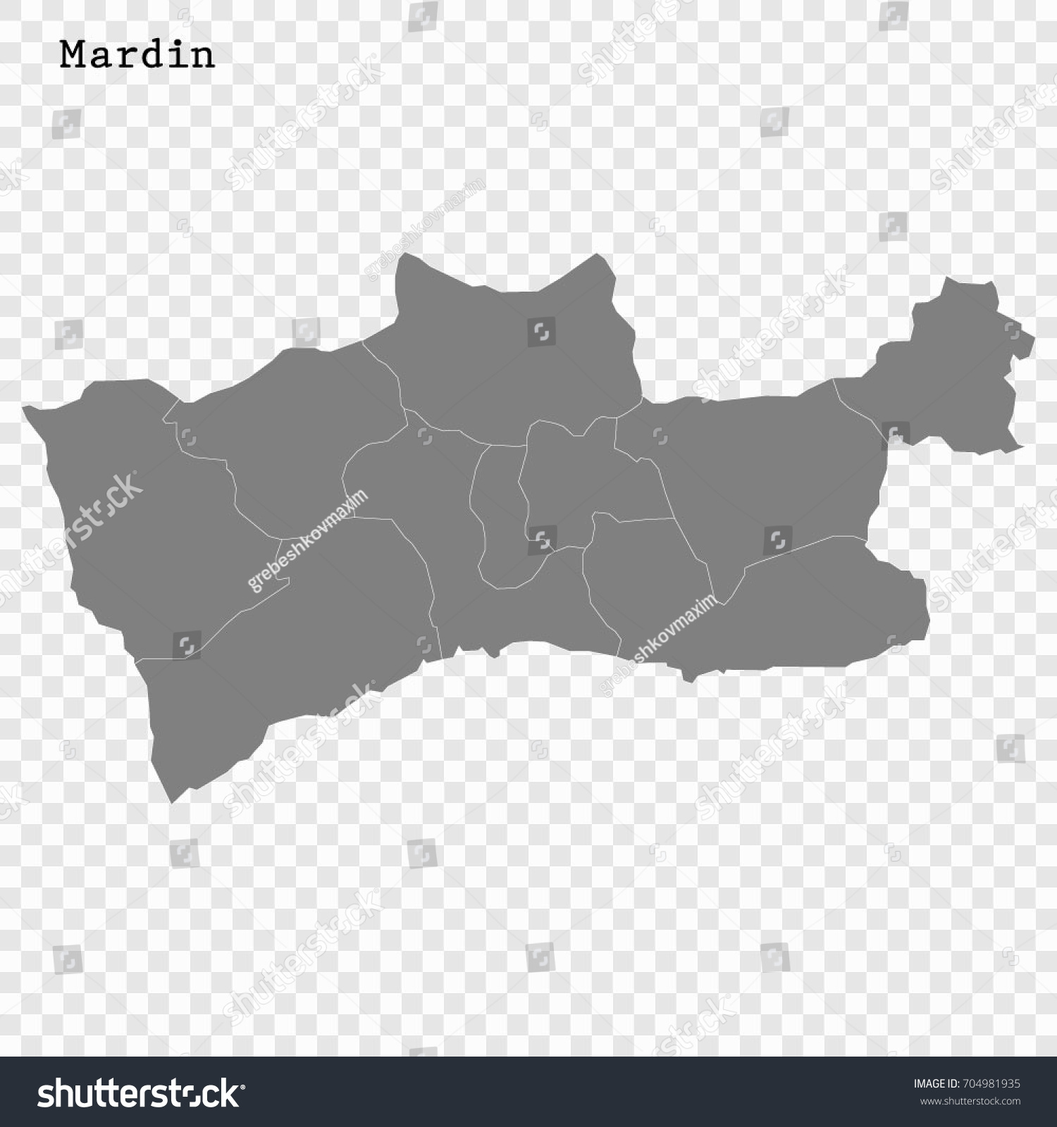 High Quality Map Mardin Province Turkey Stock Vector 704981935
