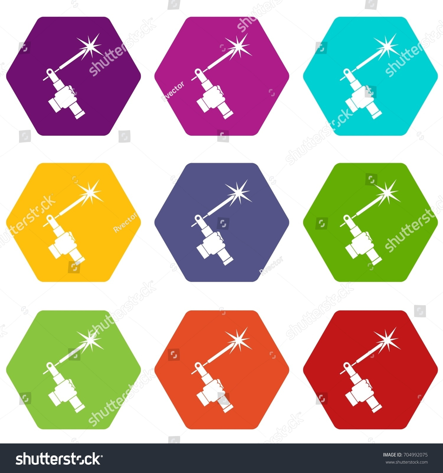 Mig Welding Torch Hand Icon Set Stock Vector Royalty Free Diagram Of In Many Color Hexahedron Isolated On White Illustration