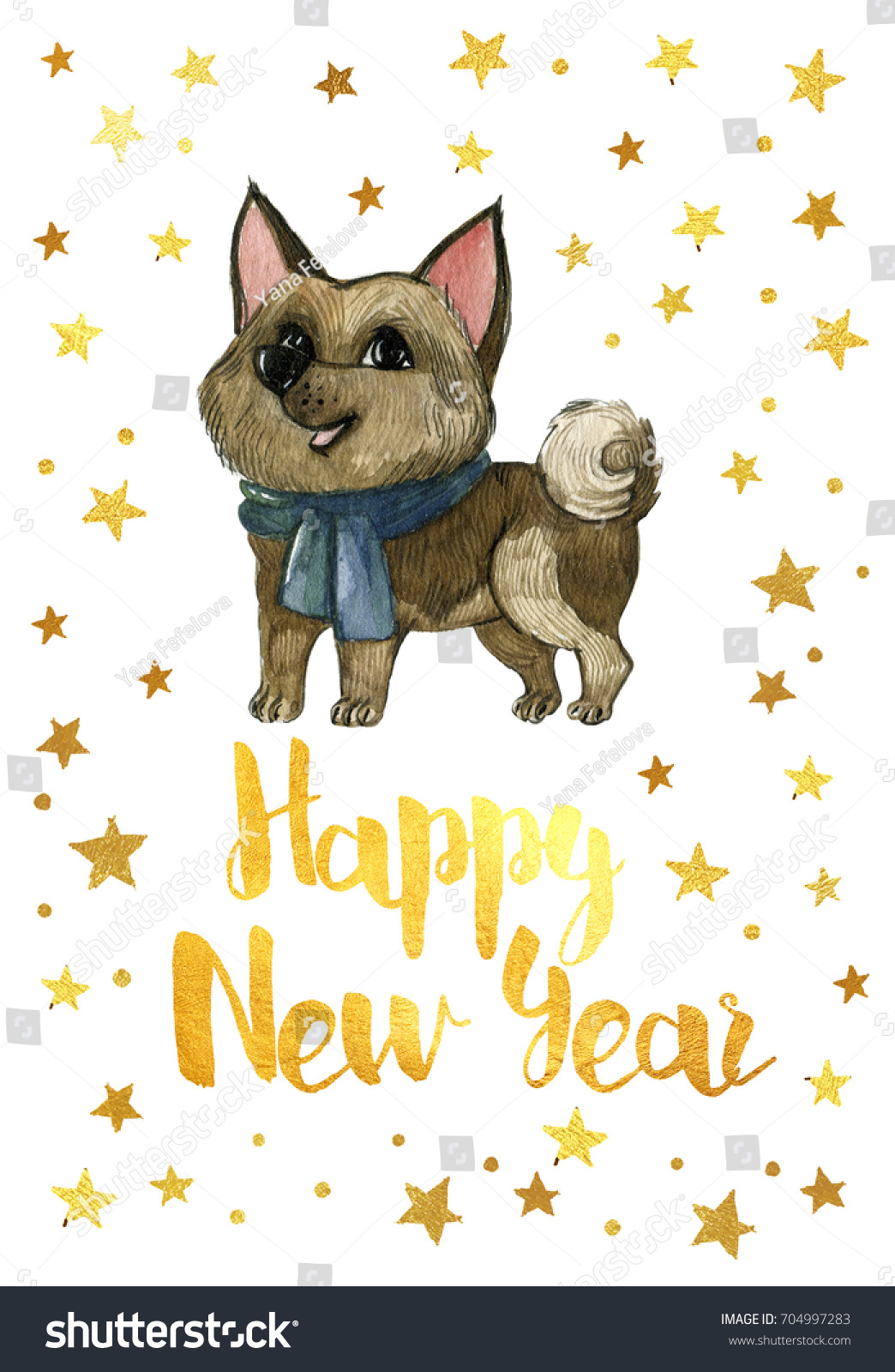 the chinese new year 2018 happy new year 2018 card with golden stars and