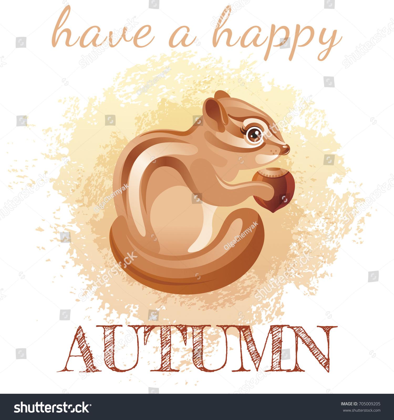 Cute Cartoon Chipmunk Character Autumn Grunge Stock Vector 705009205    Shutterstock
