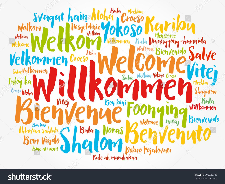 Willkommen Welcome German Word Cloud Different Stock Vector Royalty
