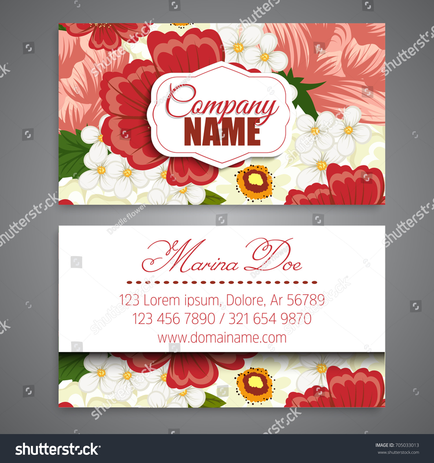 Floral Business Card Template Vector Stock Vector (2018) 705033013 ...