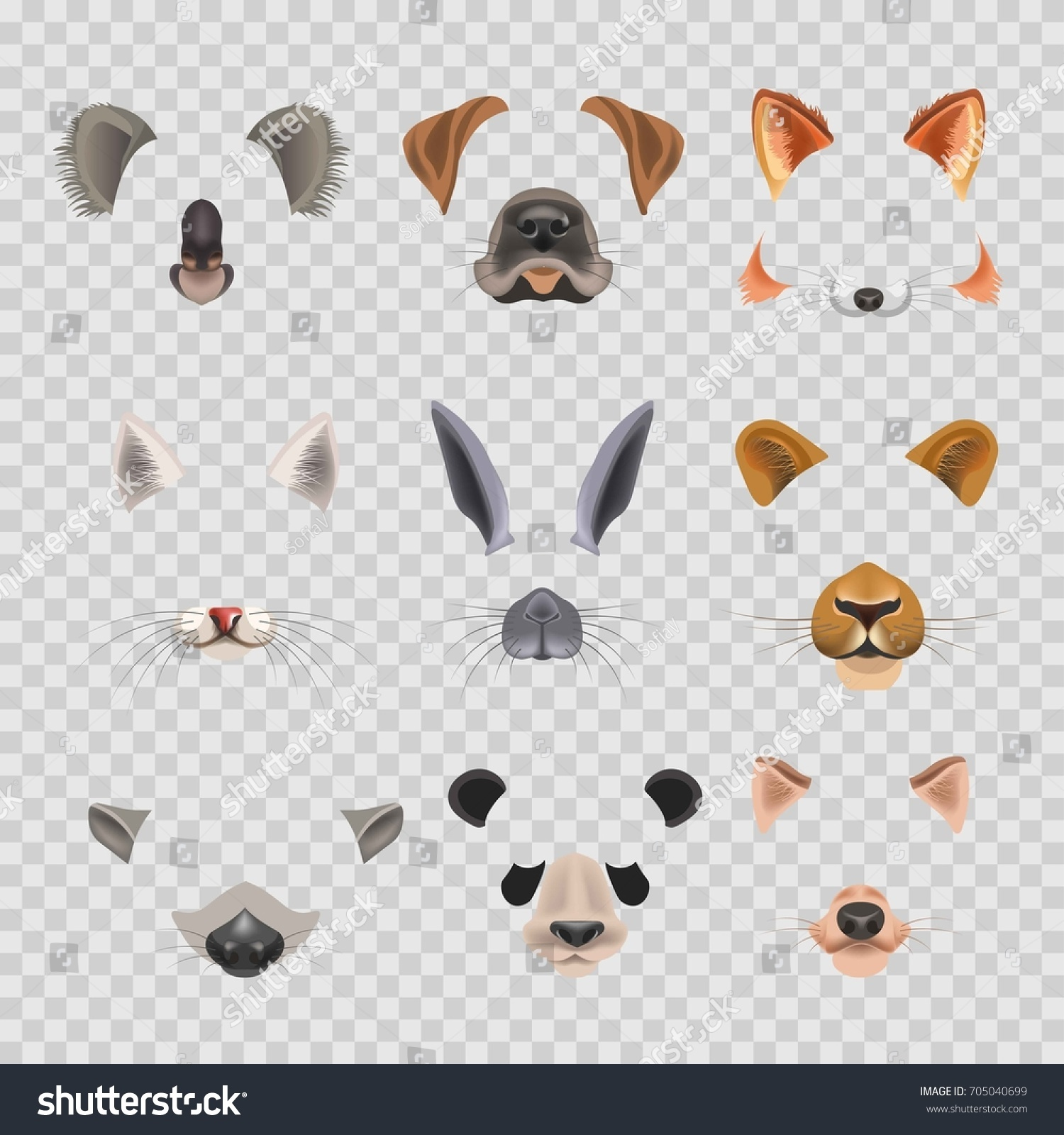 video chat effects animal faces flat stock vector 705040699