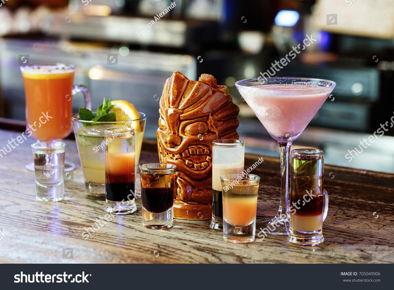 Mix Cocktails On Bar Shots Long Stockfoto (Jetzt bearbeiten ...