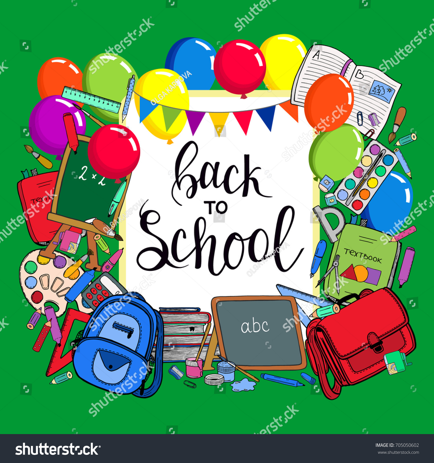 Back School Banner Design Holiday Greeting Stock Vector 705050602