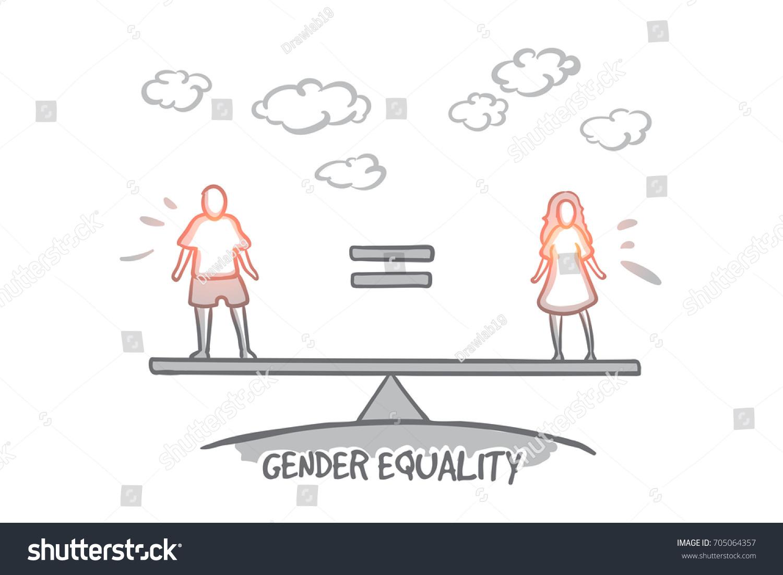 gender equality concept hand drawn male のベクター画像素材