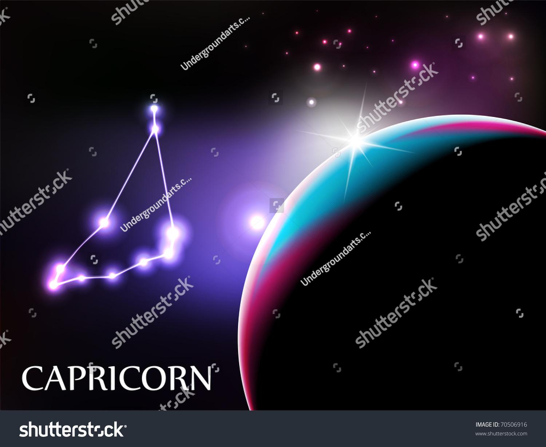 Capricorn Space Scene Astrological Sign Copy Stock Vector Royalty ...