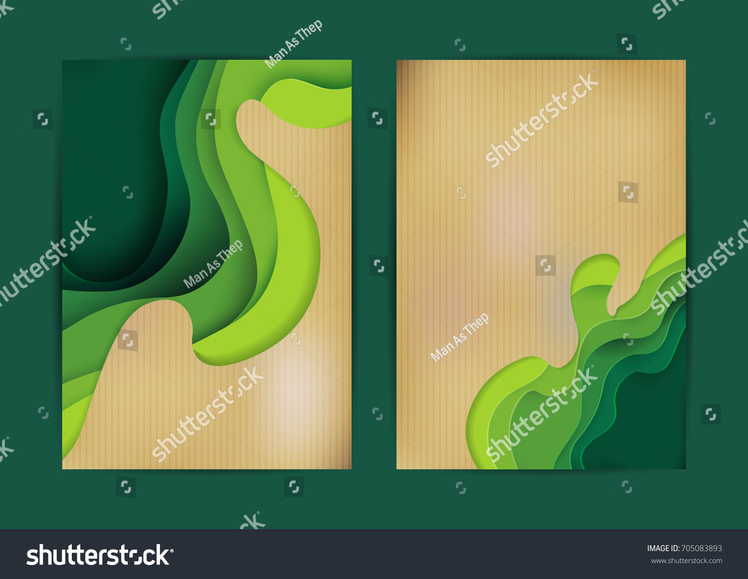 Green Eco Abstract Paper Carve Background Paper Stock Vector