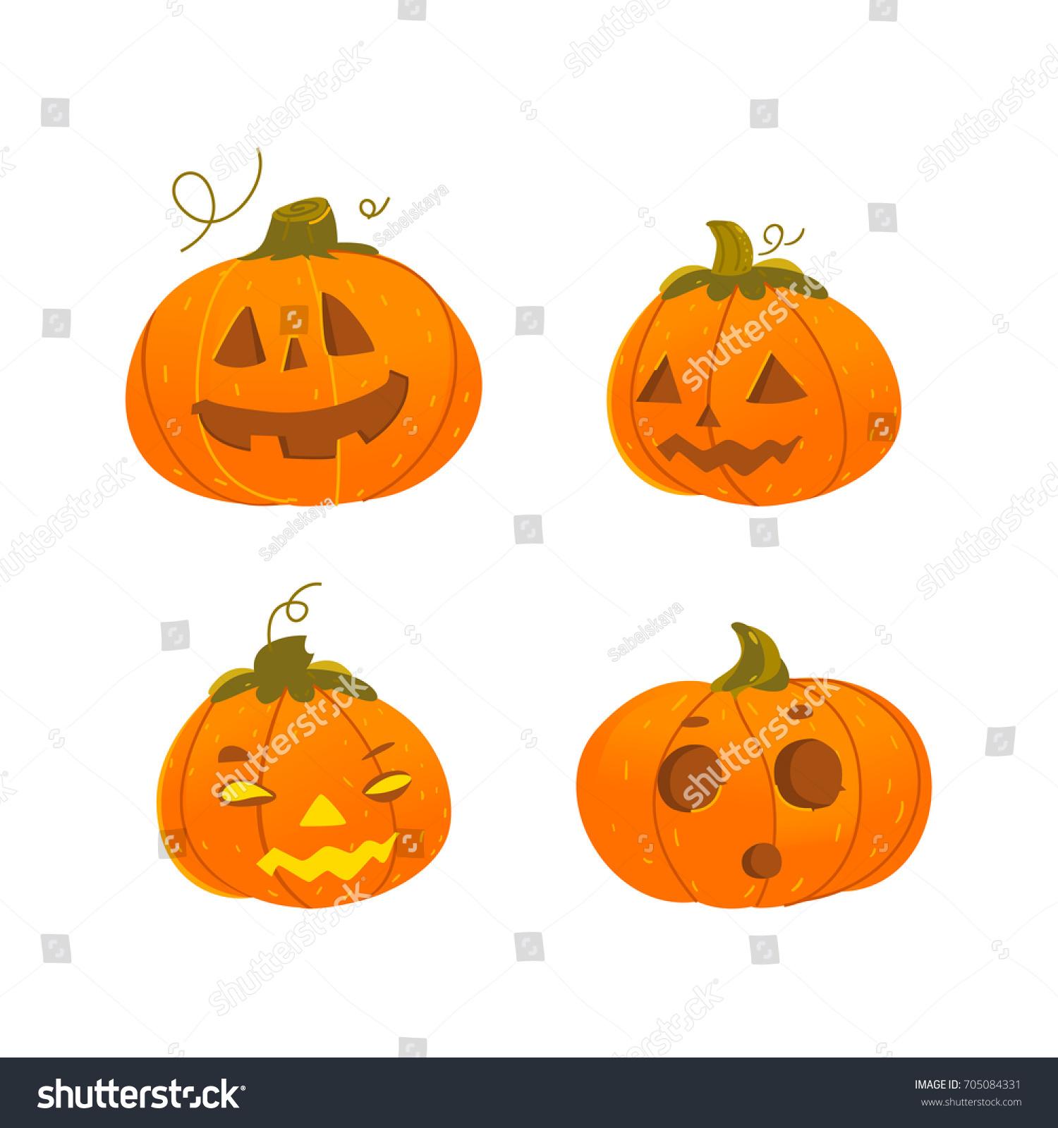 set of cute, funny halloween pumpkin jack-o-lanterns - smiling