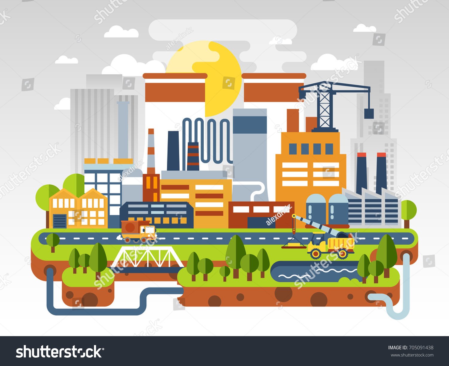 Flat Industrial Landscape Nuclear Power Plant Stock Vector Royalty Diagram And Explanation The Factory On Background Of City