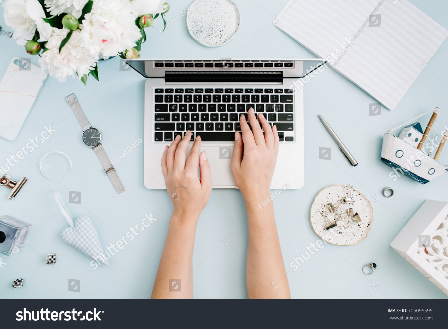 office furniture women flat lay home office desk women workspace with female hands laptop white peony lay home office desk stock photo edit now 705096595