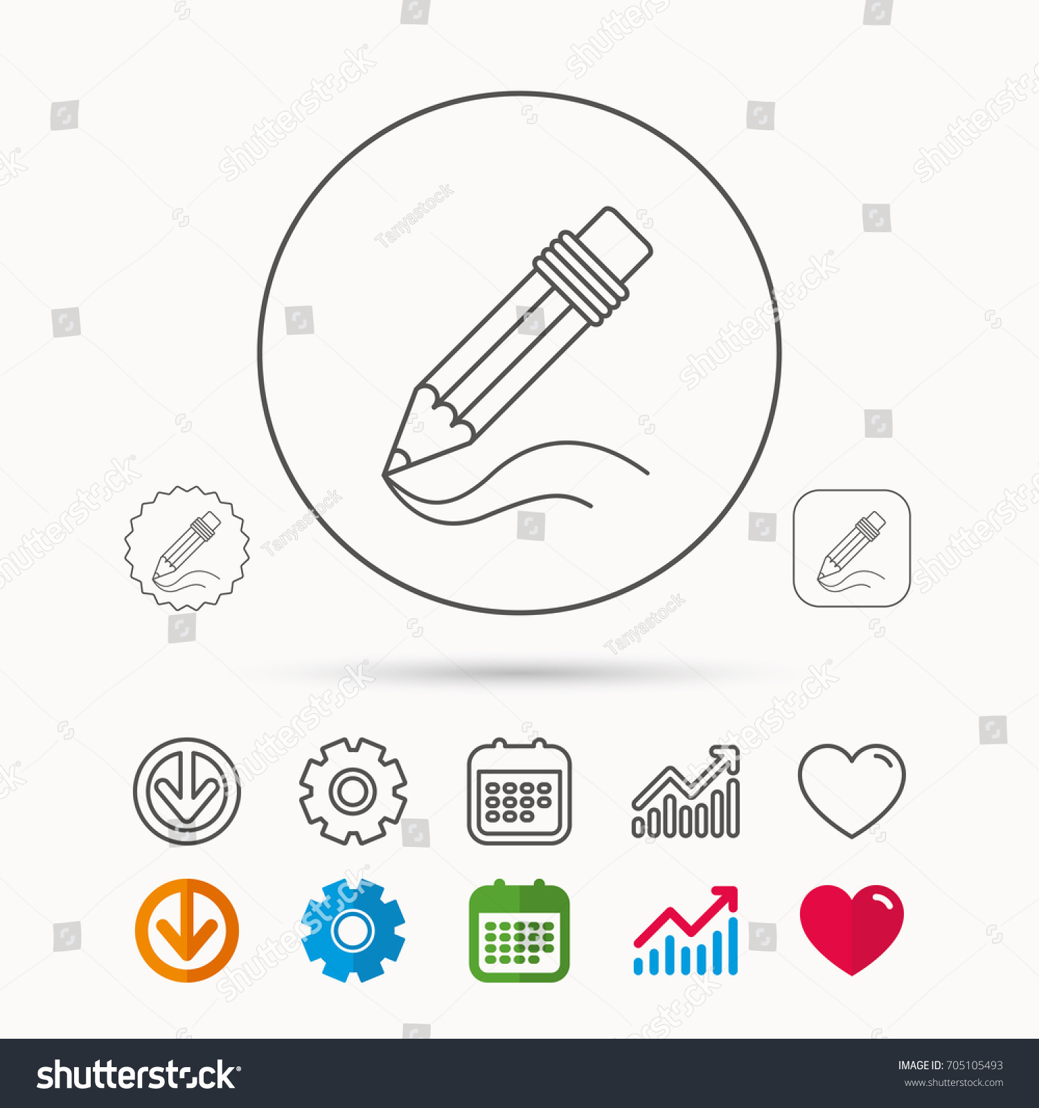 Pencil Icon Drawing Tool Sign Study Stock Vector 705105493 ...