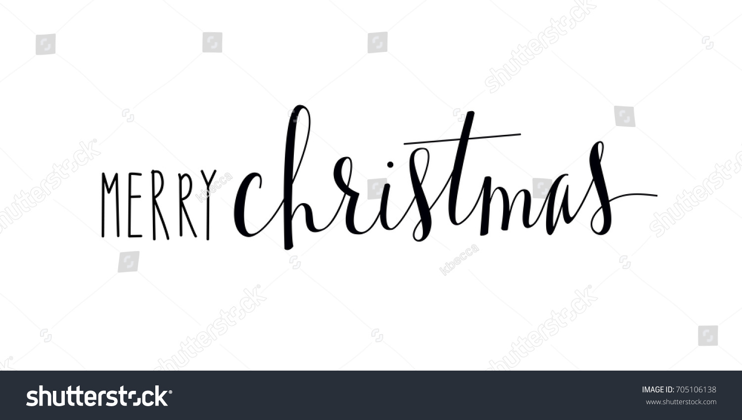 Isolated Hand Lettered Merry Christmas Text Stock Vector