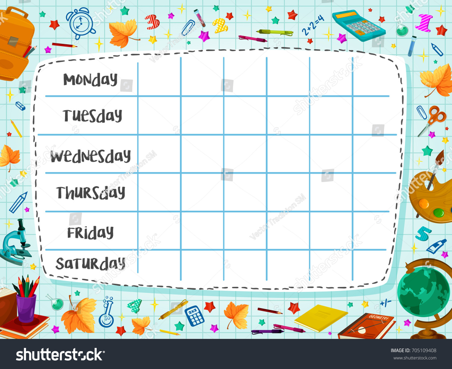 school timetable template weekly lesson schedule stock vector