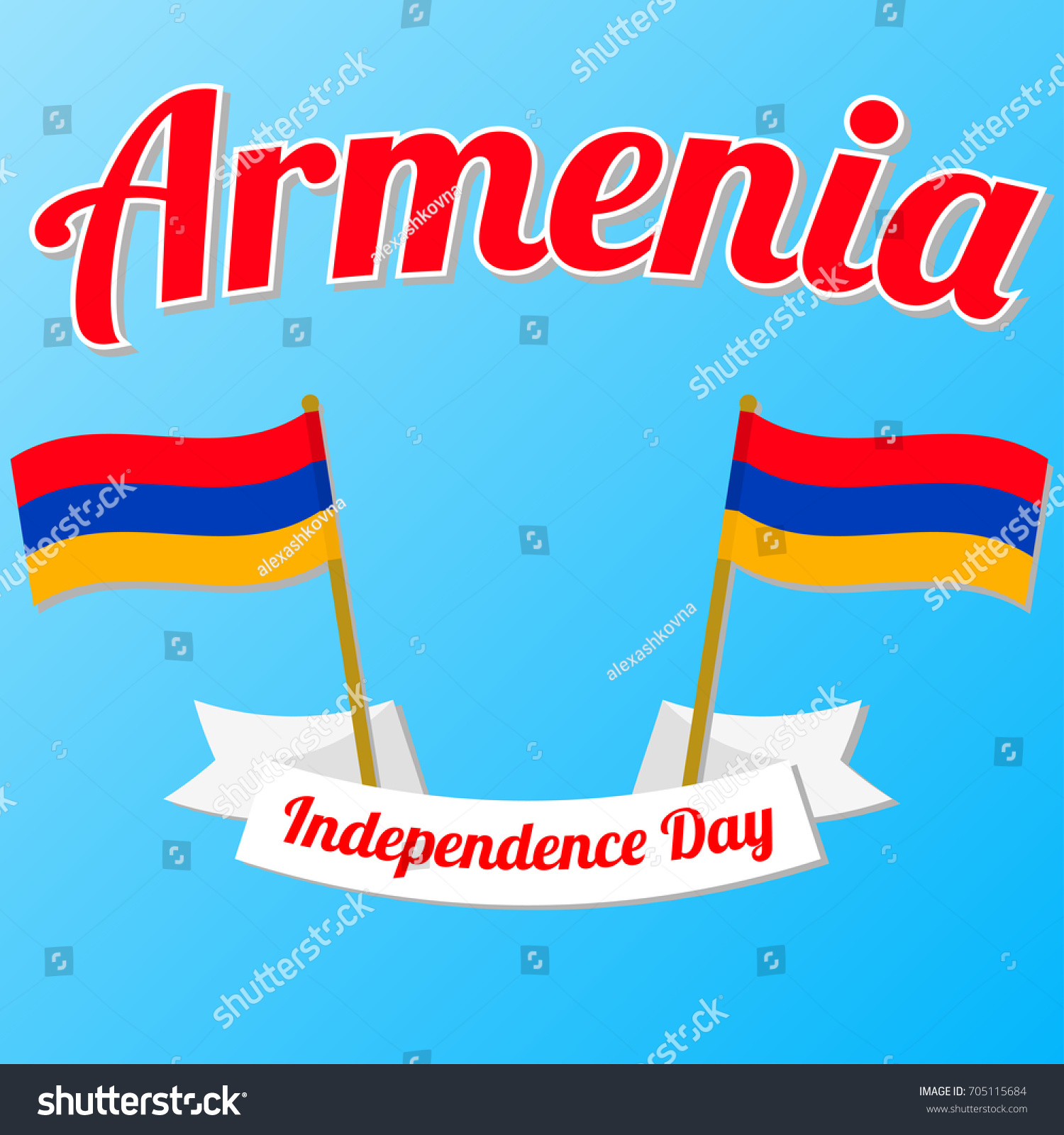 Independence Day Armenia Vector Illustration Ribbon Stock Vector