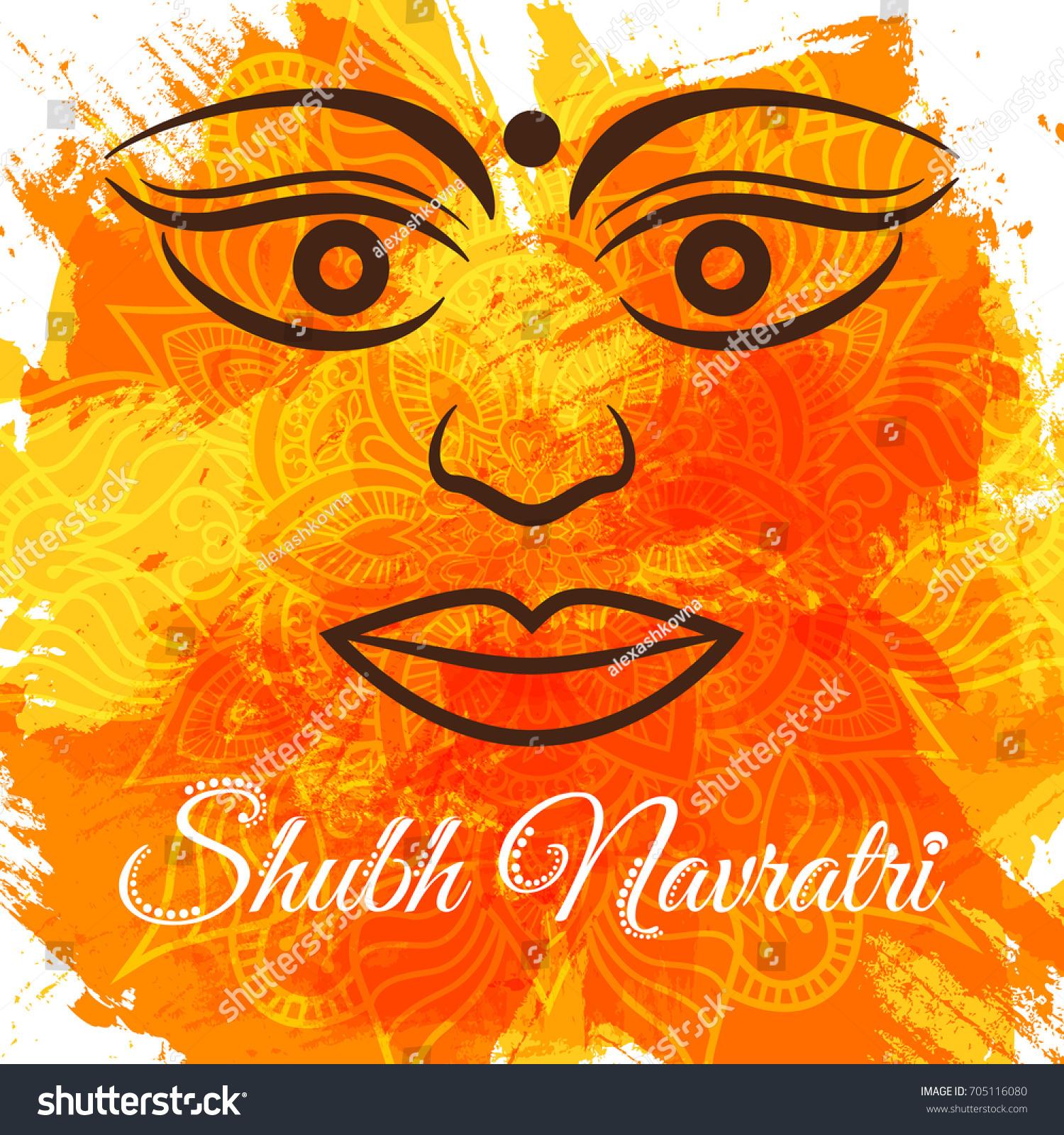 Shubh Navratri Durga Puja Greeting Poster Stock Vector 705116080