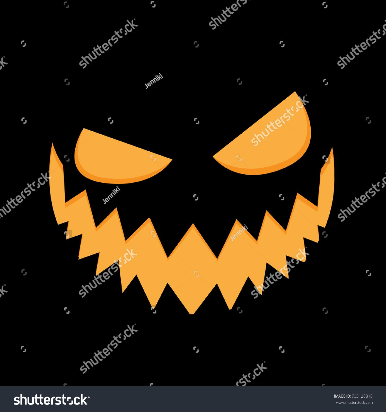 Pumpkin Face On Background Pumpkin Scary Face Halloween Vector
