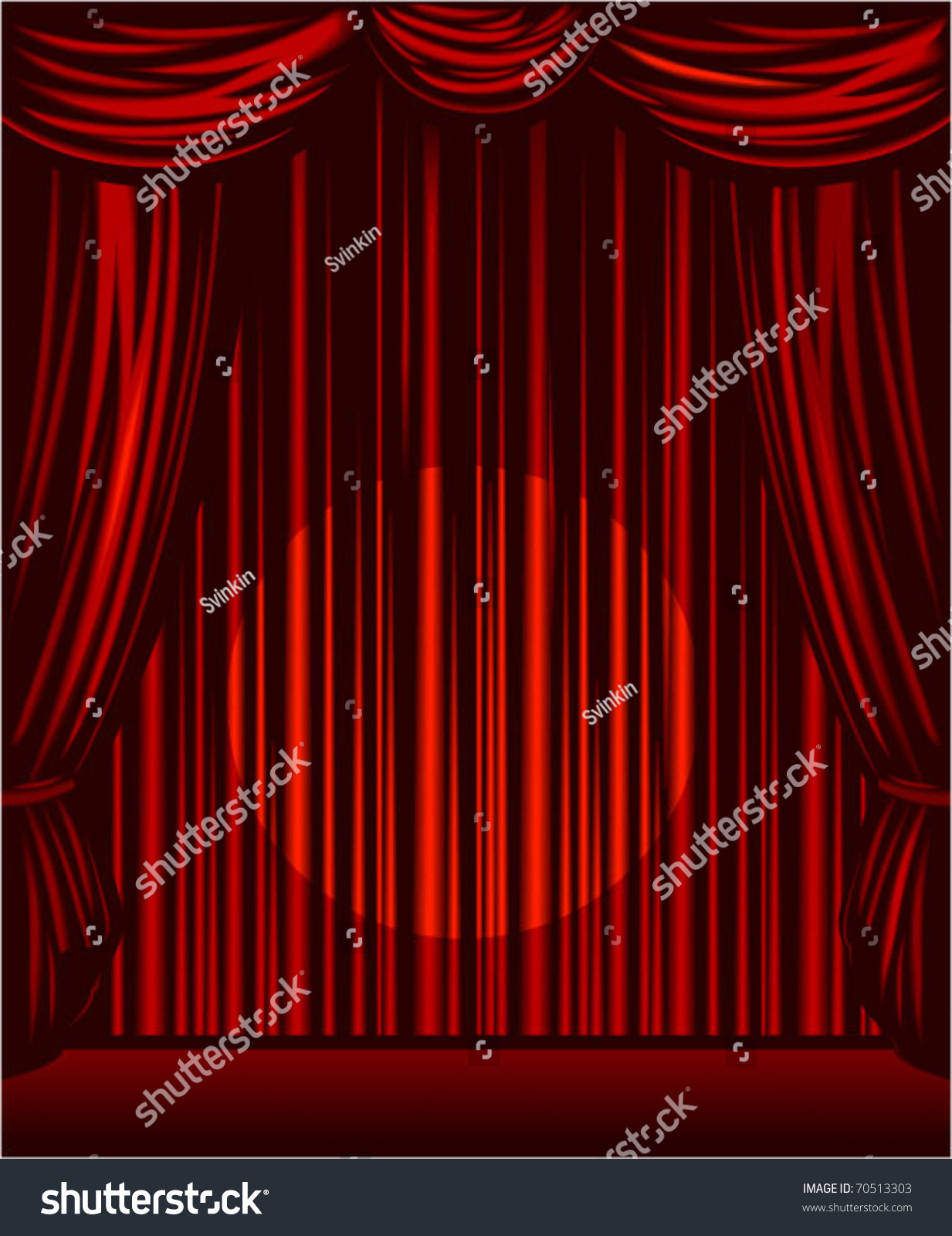 Red stage curtains open - Vector Red Stage Curtains Open With Spot Light On The Center