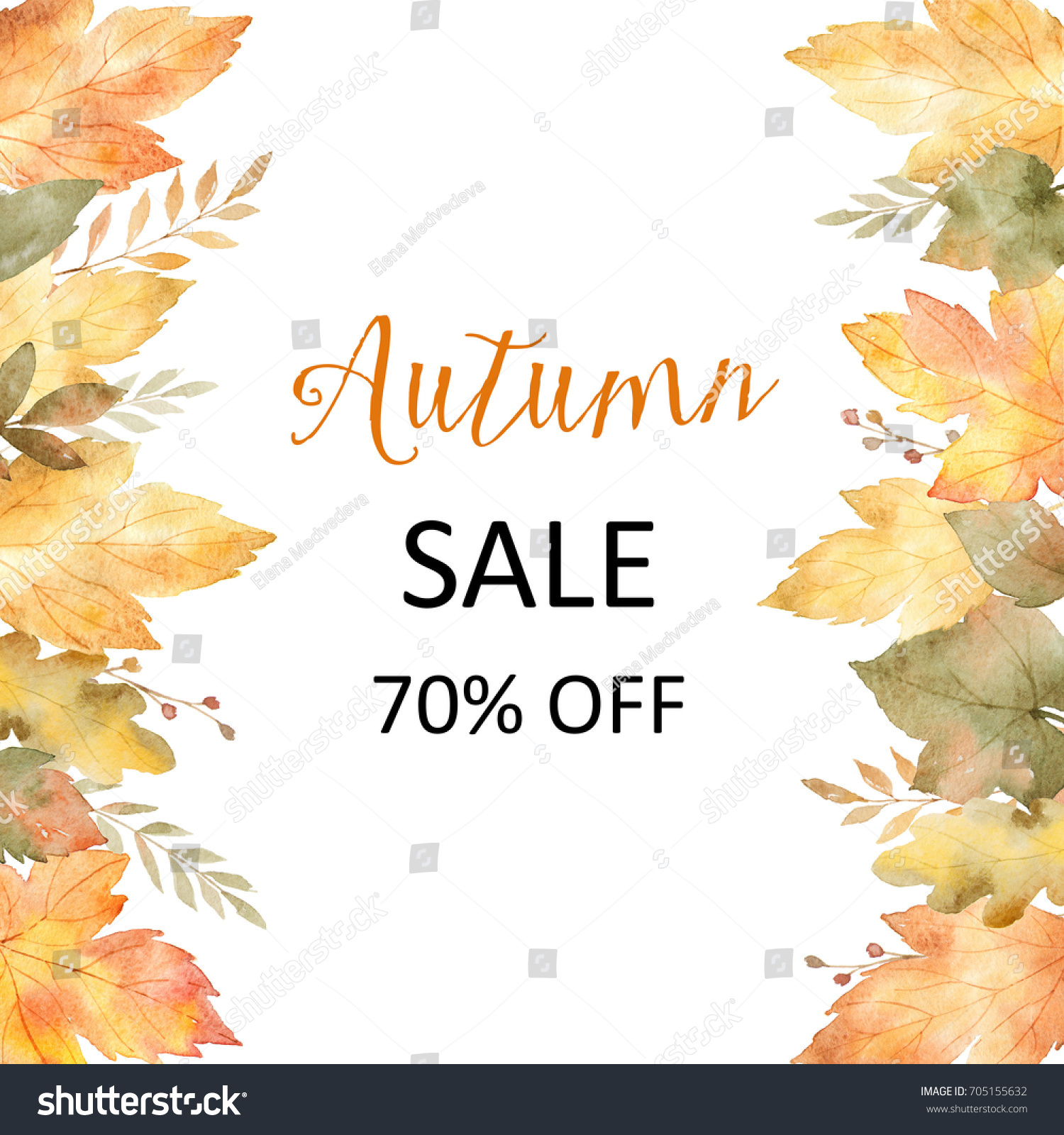 Watercolor autumn banner sales 70 isolated stock illustration watercolor autumn banner sales 70 isolated on white background illustration for of discount kristyandbryce Images