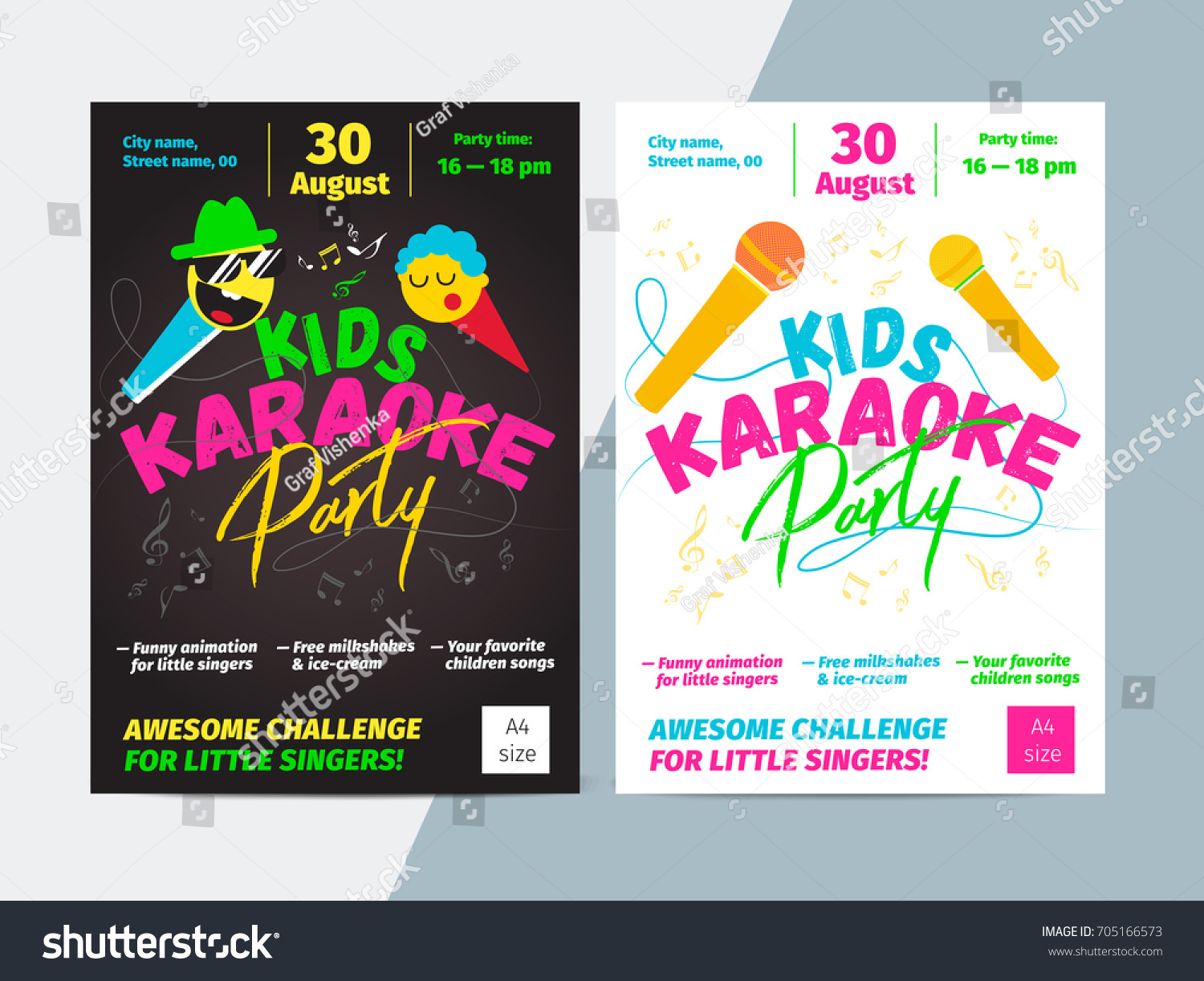 kids karaoke party flyer microphone bright のベクター画像素材