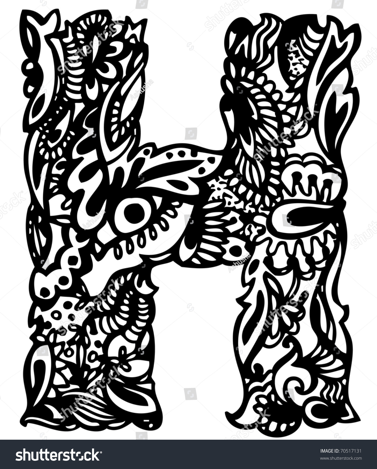 hand drawing letter h stock vector 70517131 shutterstock