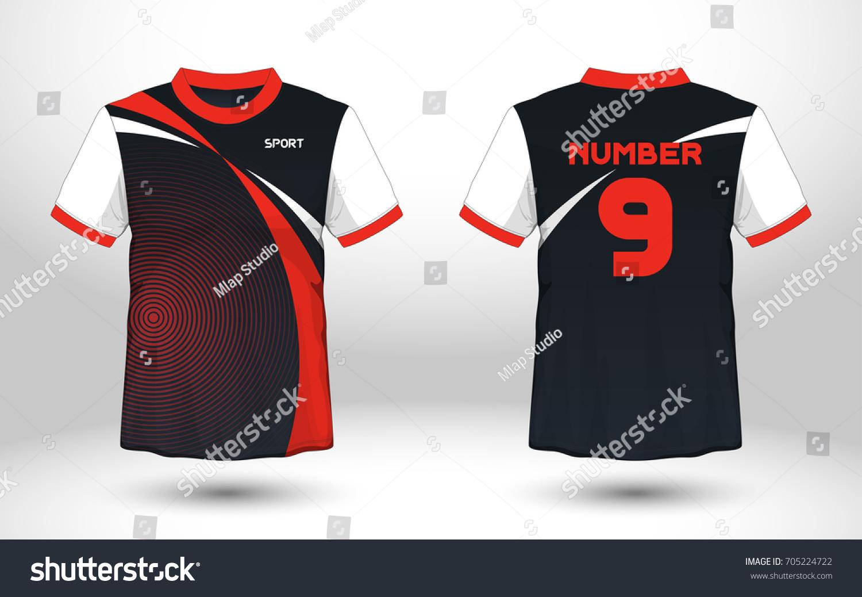 Red Black Layout Football Sport Tshirt Stock Vector Royalty Free