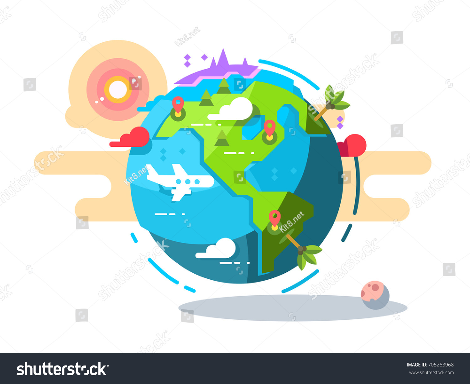 Plane flying around world geometric style vectores en stock plane flying around the world geometric style travel airplane globe green earth global trip gumiabroncs Choice Image