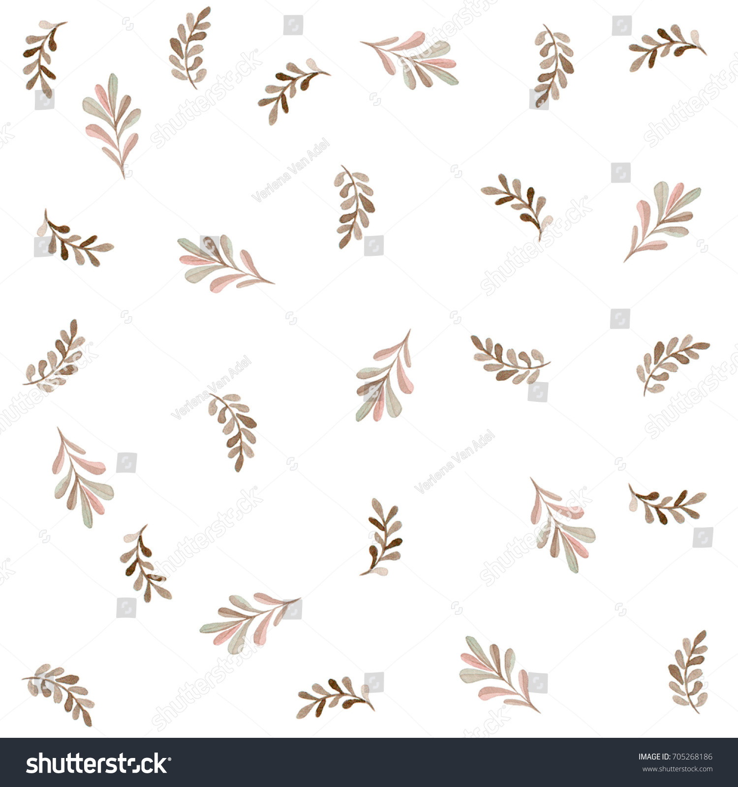 Cute Autumn Leaves Pattern Elegant Template Stock Illustration