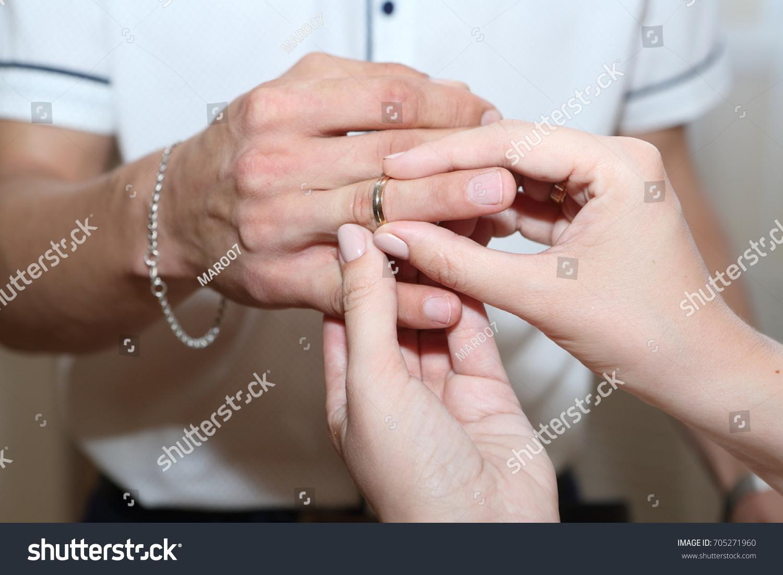 Bride Groom Wears Wedding Ring Stock Photo 705271960 Shutterstock