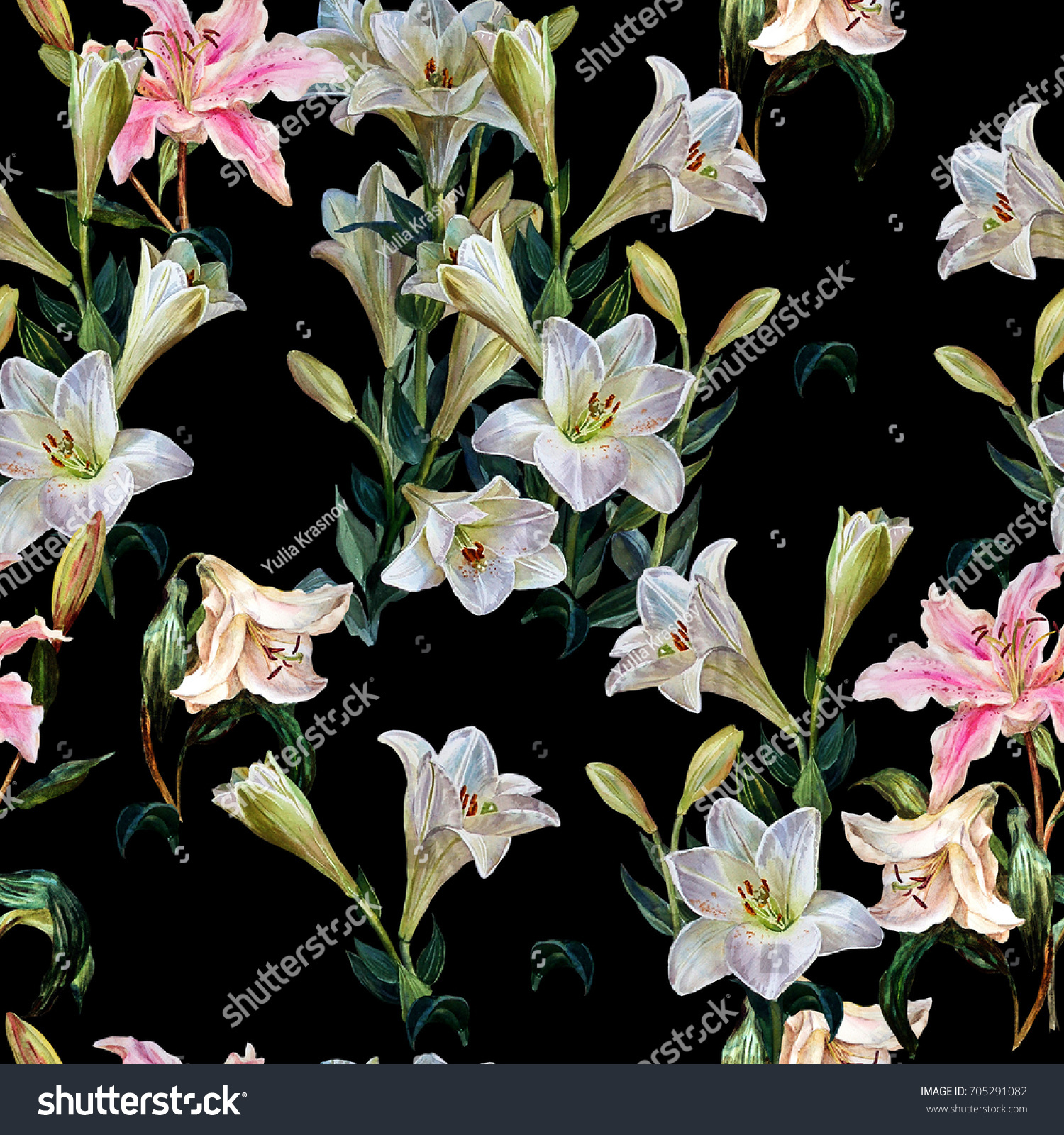 Floral l seamless pattern flowers royal lilies stock illustration floral l seamless pattern of royal lilies on a black backgroundtanical illustration izmirmasajfo