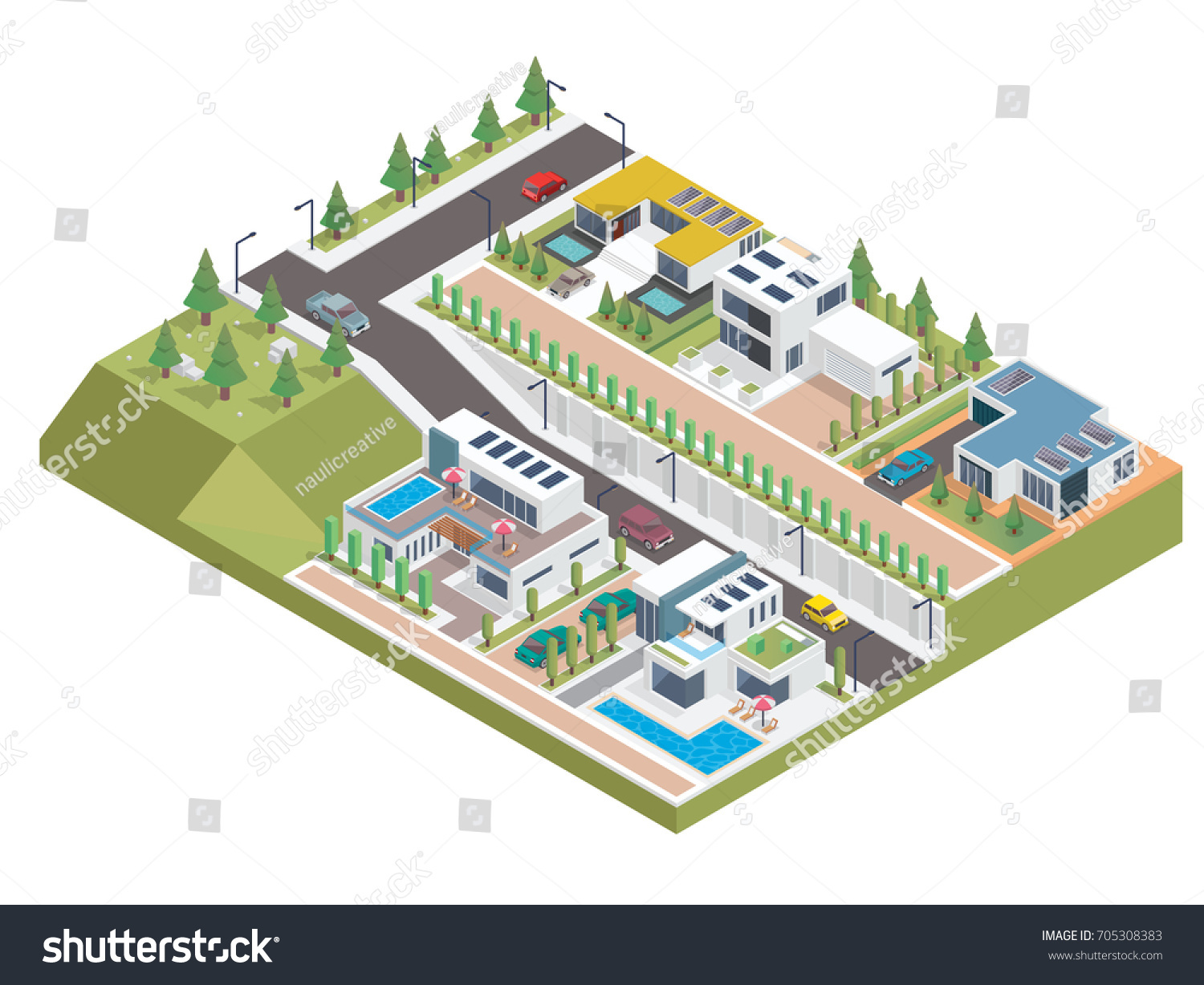 Modern Luxury Isometric Green Solar Panel Stock Vector Royalty Free Diagram Eco Friendly Housing Complex Suitable For Diagrams Infographics