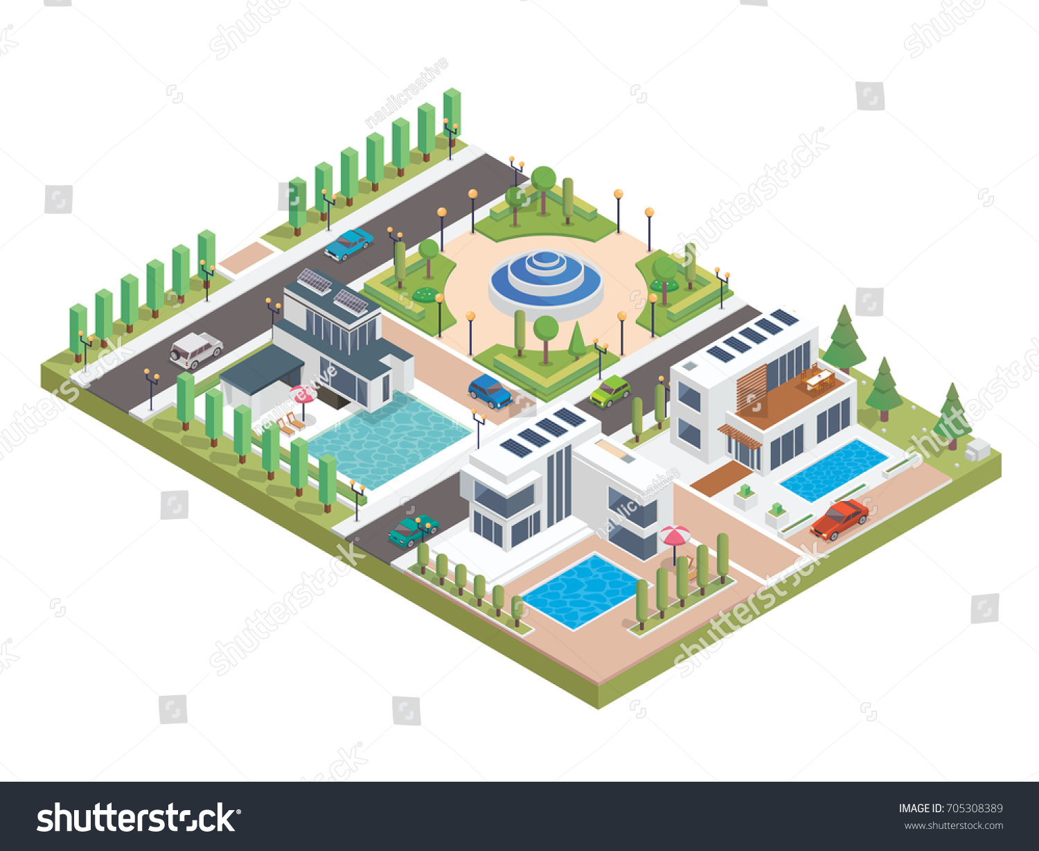 Modern Luxury Isometric Green Solar Panel Stock Vector Royalty Free Diagrams Eco Friendly Housing Complex Suitable For Infographics