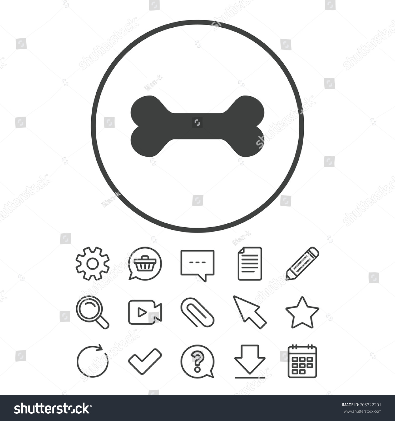 Dog bone sign icon pets food stock vector 705322201 shutterstock dog bone sign icon pets food symbol document chat and paper clip line buycottarizona Image collections
