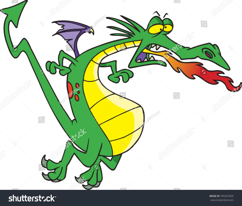 cartoon fire breathing dragon that tired stock vector 705327835 rh shutterstock com