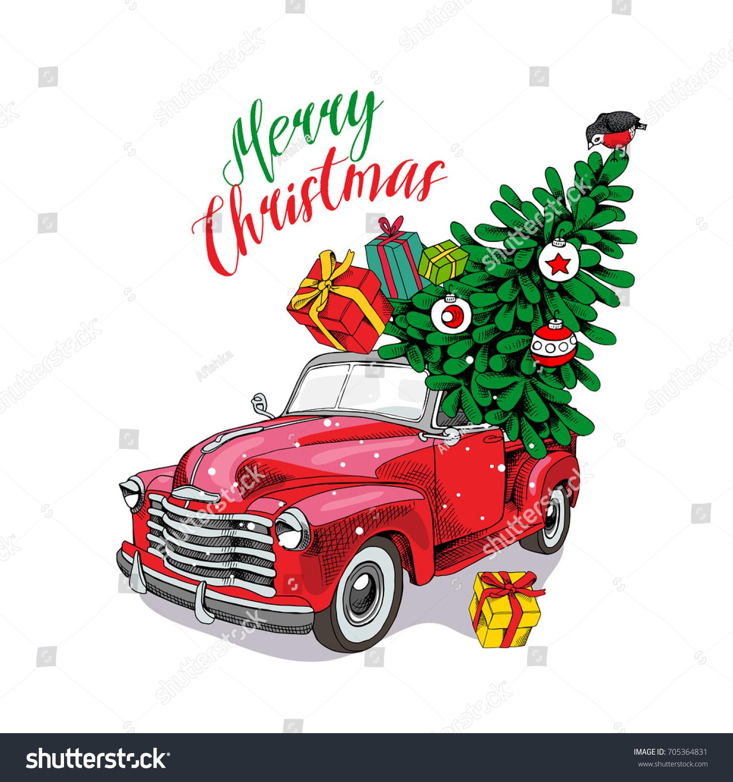 Christmas Card Red Retro Truck Fir Stock Vector 705364831 ...