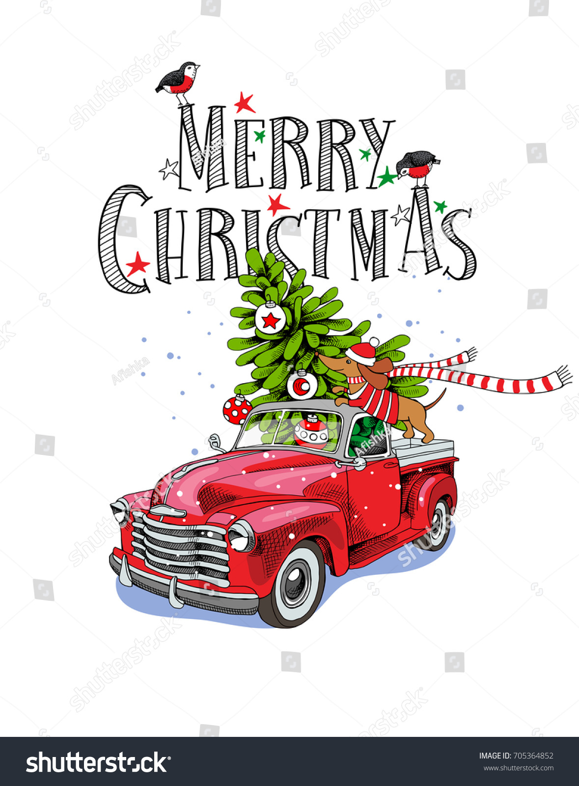 Christmas card red retro truck fir stock vector 705364852 christmas card red retro truck with a fir tree gifts and the dachshund in kristyandbryce Image collections