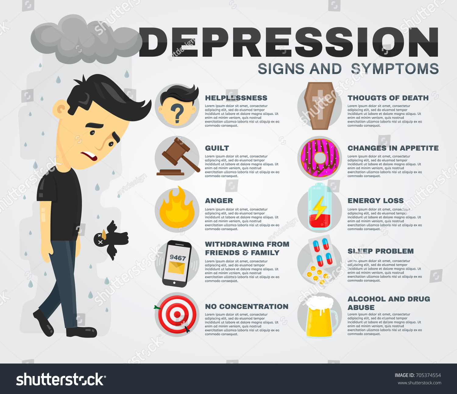 depression signs symptoms infographic concept flatのイラスト素材