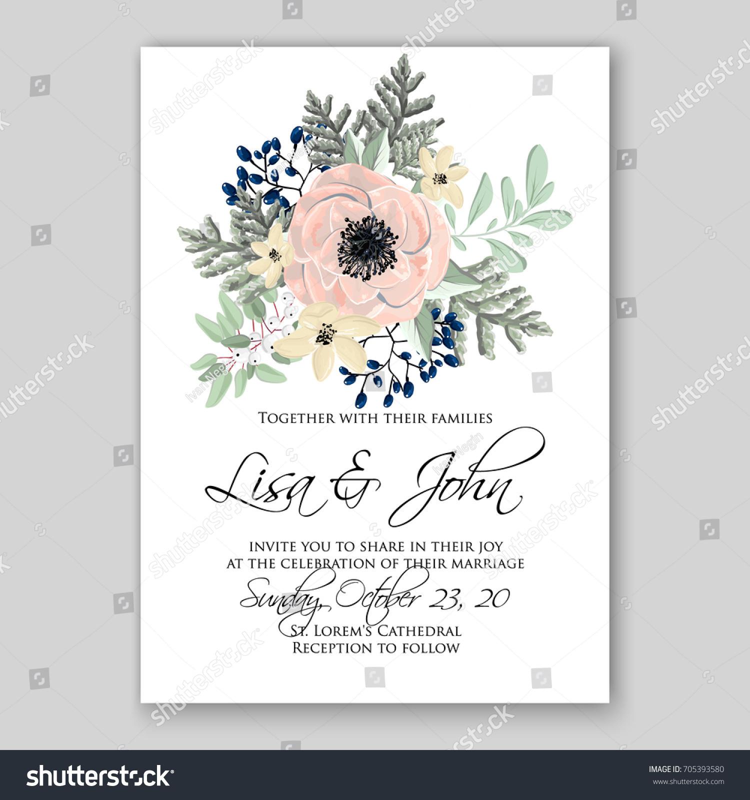 Wedding Card Invitation Template Poppy Anemone Stock Vector ...