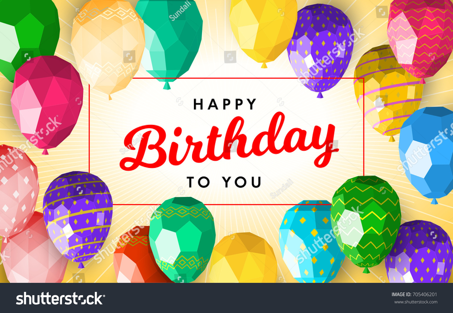 Happy Birthday Greeting Card Template Modern Stock Image