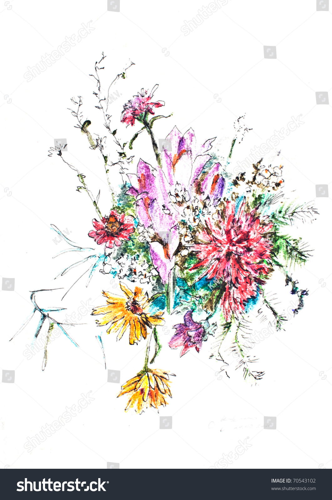 Abstract Watercolor Flowers On White Background Stock Photo Royalty