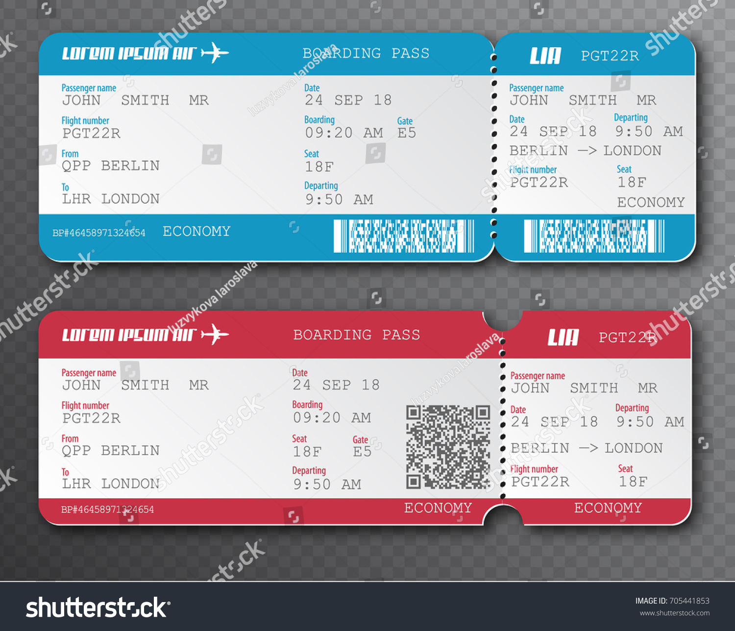 Airline Boarding Pass Ticket Tearoff Element Stock Vector Royalty