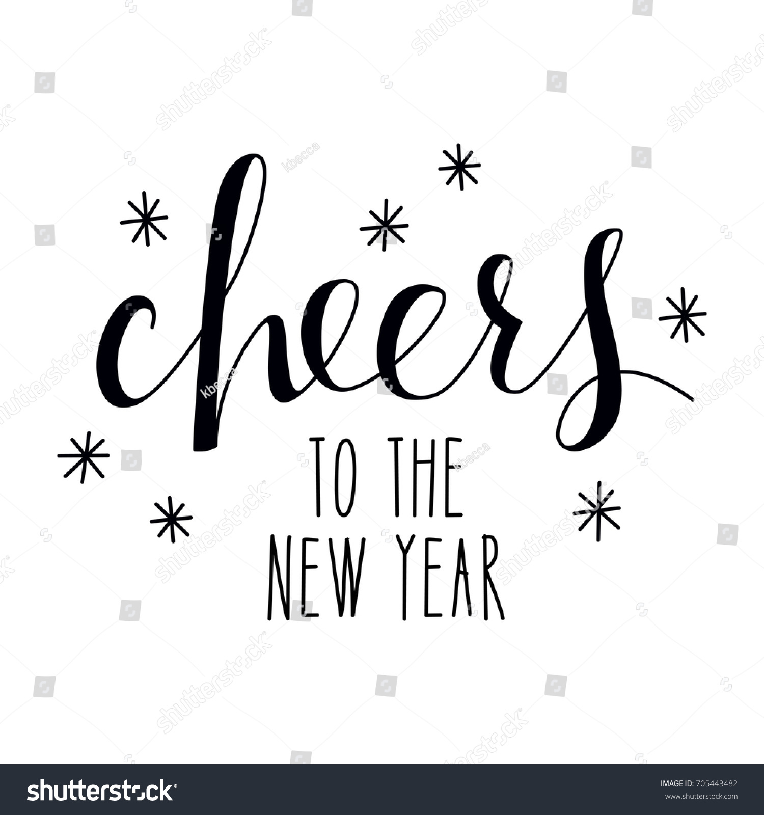 Isolated Hand Lettered Cheers New Year Stock Vector (Royalty Free ...