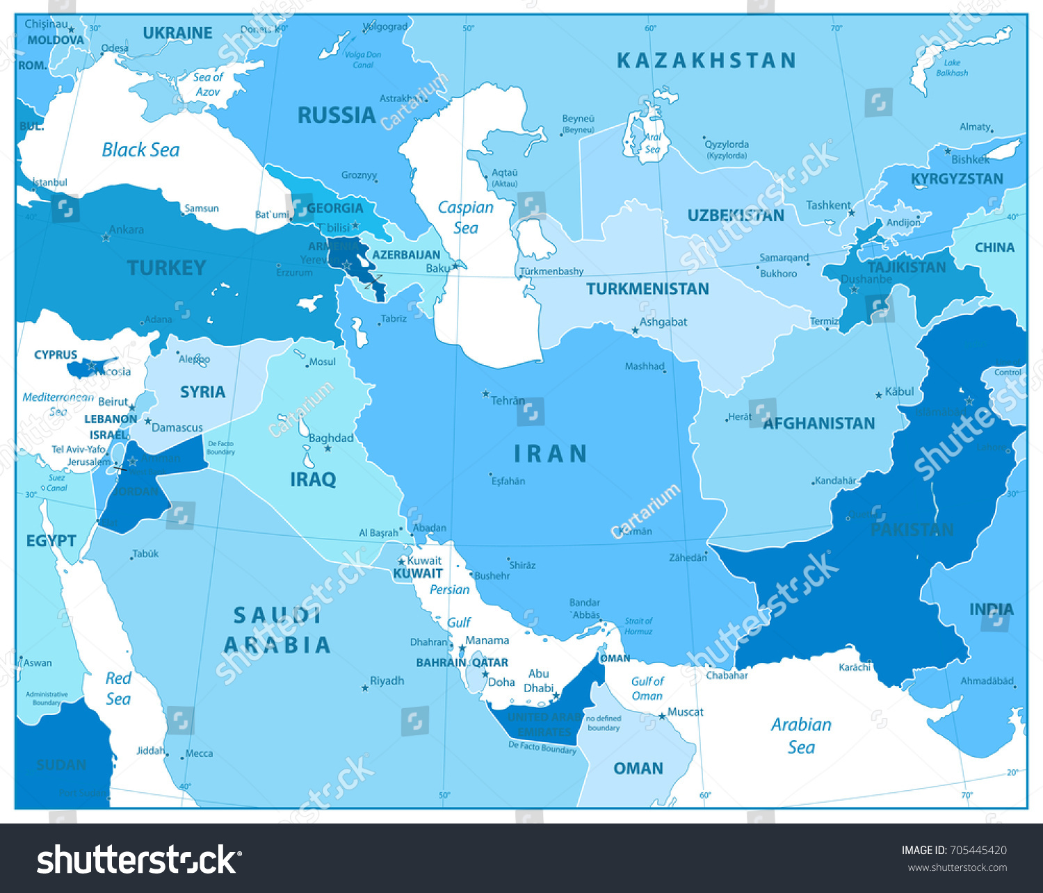 Southwest Asia Map Colors Blue Detailed Stock Vector (Royalty Free ...