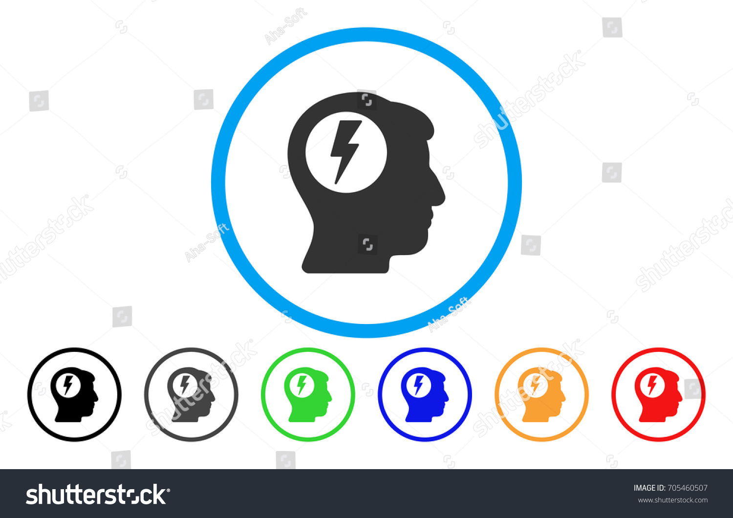 Brain Electric Shock Vector Rounded Icon Stock Vector (2018 ...