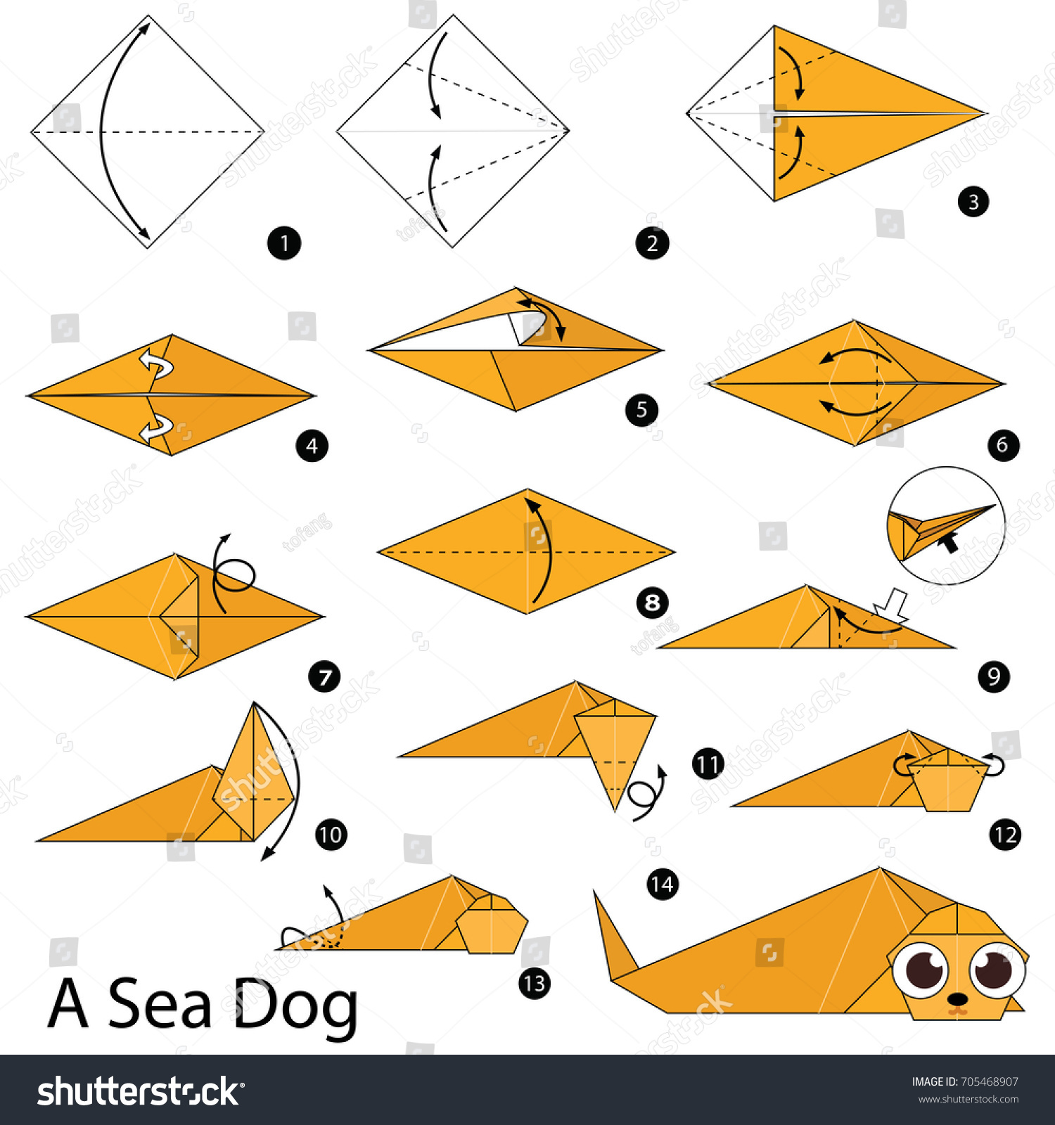 Step By Instructions How Make Stock Vector Royalty Free Origami Giraffe Diagram To A Sea Dog